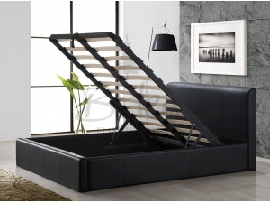 Faux Leather Ottoman Bed Frame (Brown)